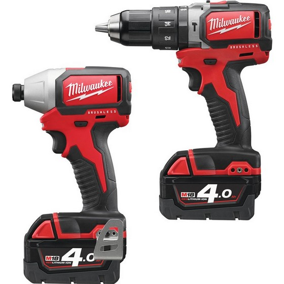 MILWAUKEE M18BLPP2B-402C M18 COMPACT BRUSHLESS TWIN PACK WITH 2X 4.0AH LI-ION BATTERIES