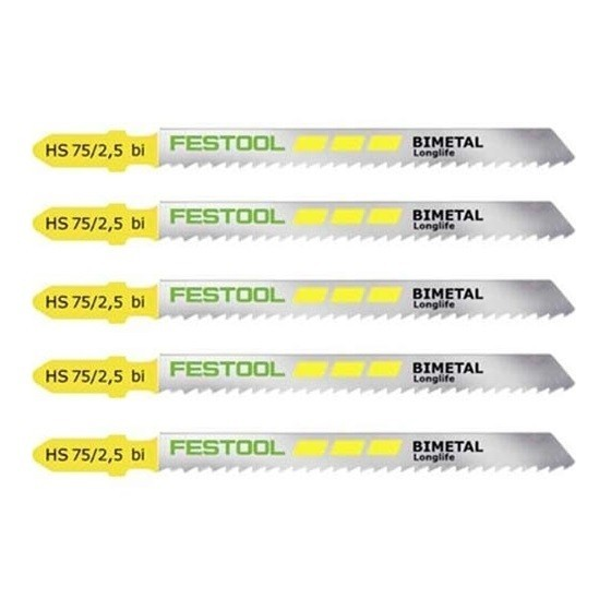 Image of FESTOOL 490178 HS7525 BIMETAL JIGSAW BLADES PACK OF 5