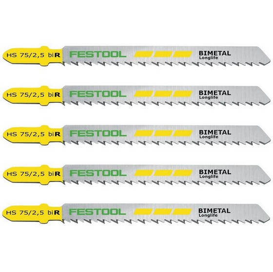 Image of FESTOOL 493570 75MM JIGSAW BLADES PACK OF 5