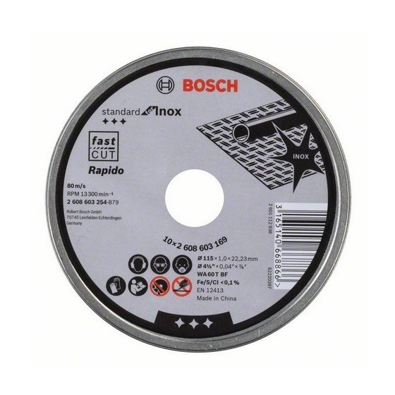 BOSCH 2608603254 1MM INOX CUTTING DISC TIN (PACK OF 10)