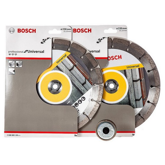 BOSCH 0615997496 230MM DIAMOND DISC TWIN PACK PLUS SDS CLICK NUT