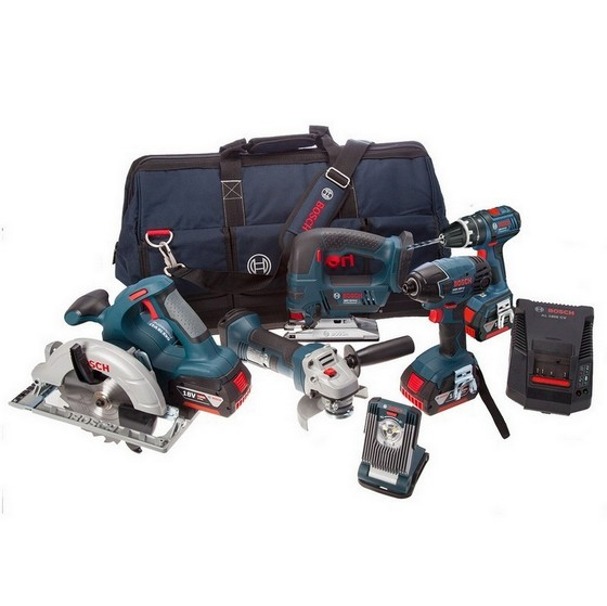 BOSCH 0615990G8K 18v 6 PIECE KIT + 3x4.0AH LI-ION BATTERIES + TOOL BAG