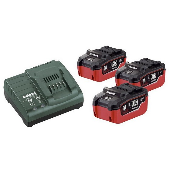Image of METABO BATTERY & CHARGER PACK WITH 3X LiHD 55AH LIION BATTERIES AND ASC3036 CHARGER