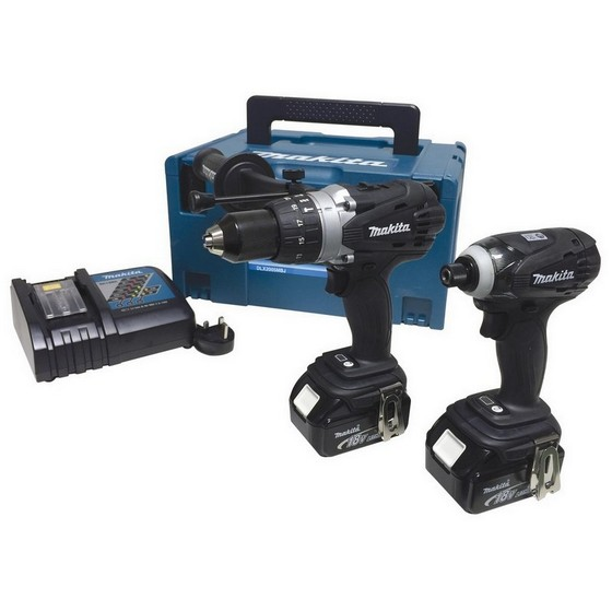 MAKITA DLX2005MBJ 18V TWIN PACK SPECIAL BLACK EDITION WITH 2X 4.0AH LI-ION BATTERIES AND 216 PIECE ACCESSORIES SET