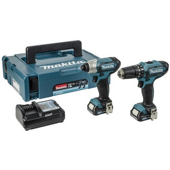 MAKITA CLX202AJ 10.8V CXT COMBI & IMPACT DRIVER TWIN PACK WITH 2X 2.0AH LI-ION BATTERIES