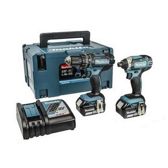 makita dlx2131 18v combi impact driver twin pack with 2x li ion batteries. Black Bedroom Furniture Sets. Home Design Ideas
