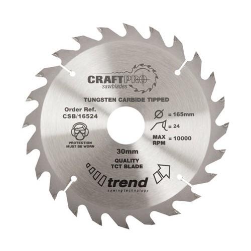 TREND CSB16524 MEDIUM FINISH TCT CIRCULAR SAW BLADE 24TX30X165MM lowest price