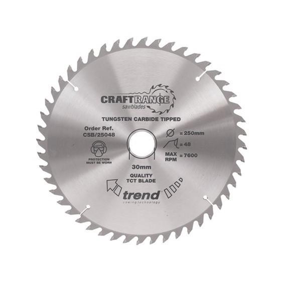 Image of Trend Csb25048 Medium Finish Tct Circular Saw Blade 48tx30x250mm