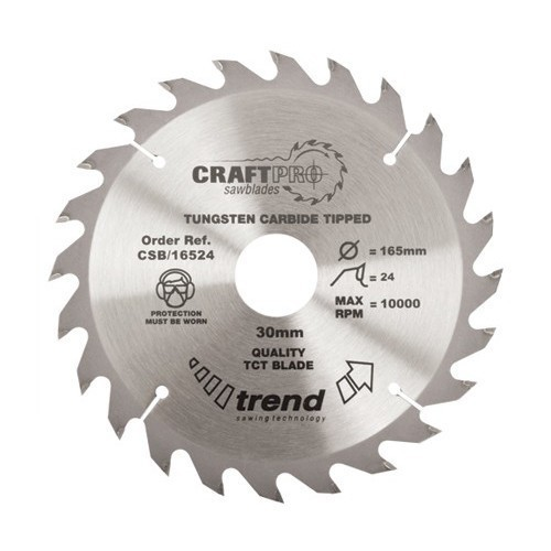 TREND CSB16524T MEDIUM FINISH TCT CIRCULAR SAW BLADE 24TX10X165MM lowest price