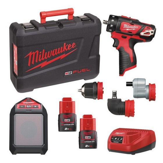 MILWAUKEE M12SET2N202C M12BDDX M12JSSP KIT WITH 2X 20AH LIION BATTERIES