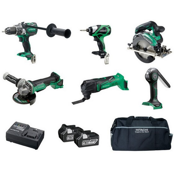 HITACHI KTL618BL 18V BRUSHLESS 6 PIECE KIT WITH 3X 6.0AH LI-ION BATTERIES