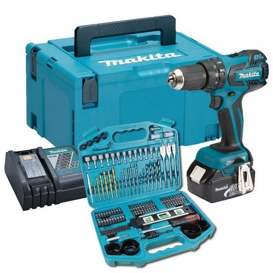 MAKITA DHP459RT1J 18V BRUSHLESS COMBI HAMMER DRILL WITH 1X 50AH LIION BATTERIES  101 PIECE ACCESSORY SET