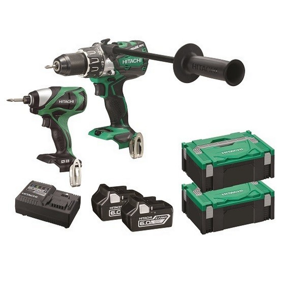 HITACHI KC18DPLWH 18V BRUSHLESS COMBI & IMPACT DRIVER WITH 2X 60AH LIION BATTERIES