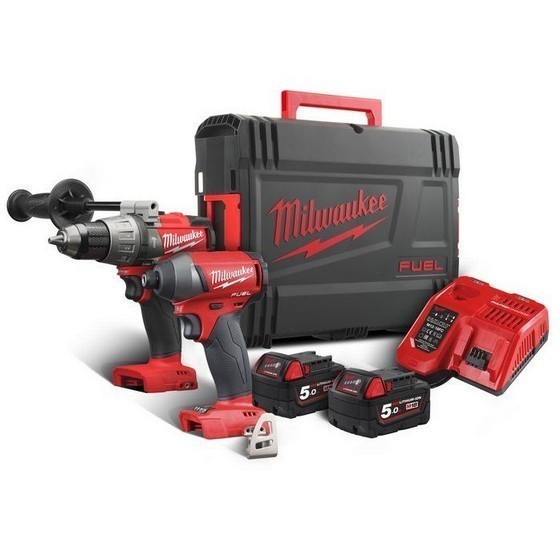 Image of MILWAUKEE M18FPP2A502X 18V BRUSHLESS FUEL 2 TWIN PACK 2X 50AH LIION BATTERIES