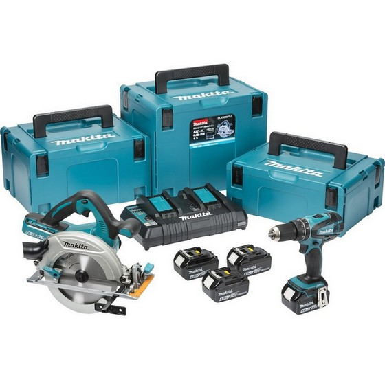 MAKITA DLX2084PM 18V 2 PIECE KIT WITH 4X 4.0AH LI-ION BATTERIES AND DUAL CHARGER