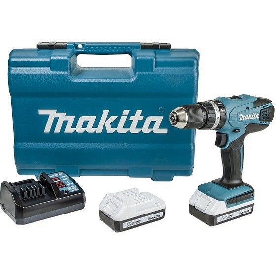 MAKITA HP457DWE10 18V G-SERIES COMBI HAMMER DRILL WITH 2X 1.3AH L-ION BATTERIES + ACCESSORIES