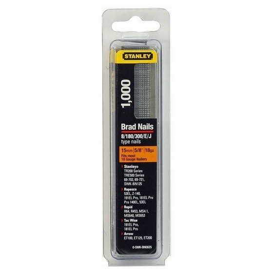 STANLEY STA0SWKBN062 PACK OF 1000 BRAD NAILS 15MM