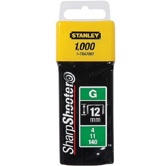 Image of STANLEY STA1TRA708T HEAVY DUTY SHARP SHOOTER STAPLES 12MM PACK OF 1000