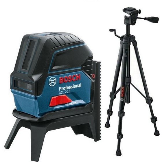 BOSCH GCL2-15 COMBINATION LINE LASER WITH RM1 ROTATING MOUNT AND BT150 TRIPOD