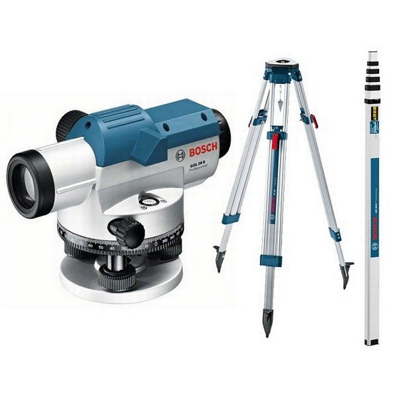BOSCH GOL26DSET OPTICAL LEVEL KIT WITH TRIPOD AND STAFF