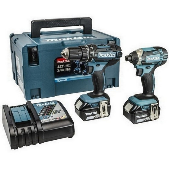Image of MAKITA DLX2131MJ 18V COMBI & IMPACT DRIVER TWIN PACK WITH 2X 40AH LIION BATTERIES