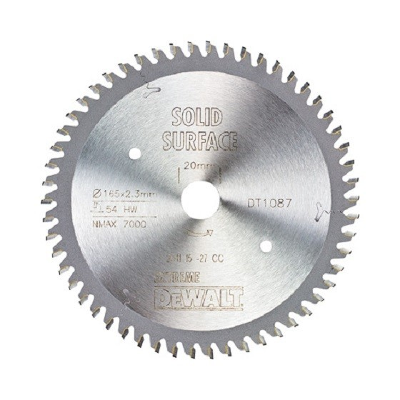 Image of DEWALT DT1087QZ PLUNGE SAW BLADE 165MM X 20MM X 54T