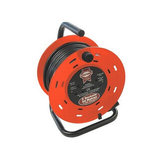 FAITHFULL FPPCR50M 2 SOCKET CABLE REEL 50 METRE 13 AMP 240V