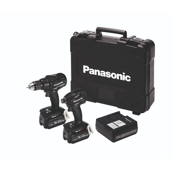 Image of PANASONIC EYC217LJ2G31 18V COMBI DRILL & IMPACT DRIVER KIT WITH 2X 50AH LIION BATTERIES
