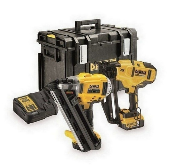 Image of Dewalt Dck264p2 18v Xr Brushless Nailer Twinpack With 2x 50ah Liion Batteries