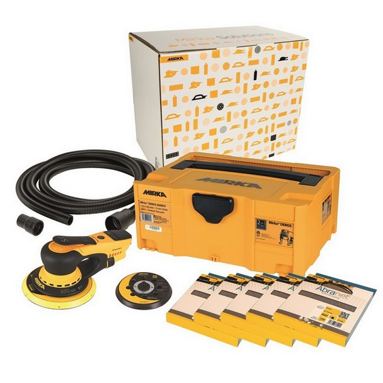 Image of MIRKA DEROS SANDER DECO KIT 110V WITH 50 SANDING DISCS SUPPLIED IN SYSTAINER CASE