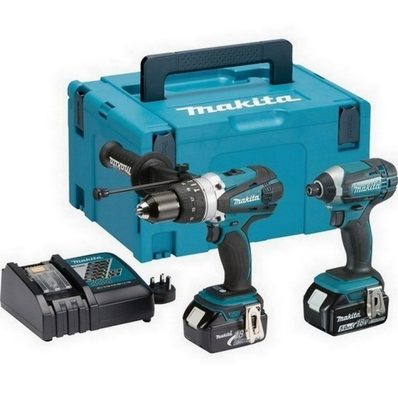 MAKITA DLX2145TJ 18V COMBI DRILL AND IMPACT DRIVER TWIN PACK WITH 2X 50AH LIION BATTERIES