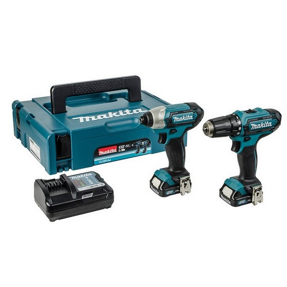 MAKITA CLX201AJ 10.8V DRILL DRIVER & IMPACT TWIN PACK WITH 2X 2.0AH BATTERIES & 100 PIECE BIT SET