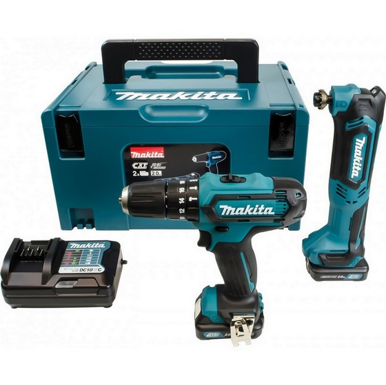 Image of MAKITA CLX203AJX1 108V CXT COMBI & MULTI TOOL TWIN PACK 2X 20AH LIION BATTERIES