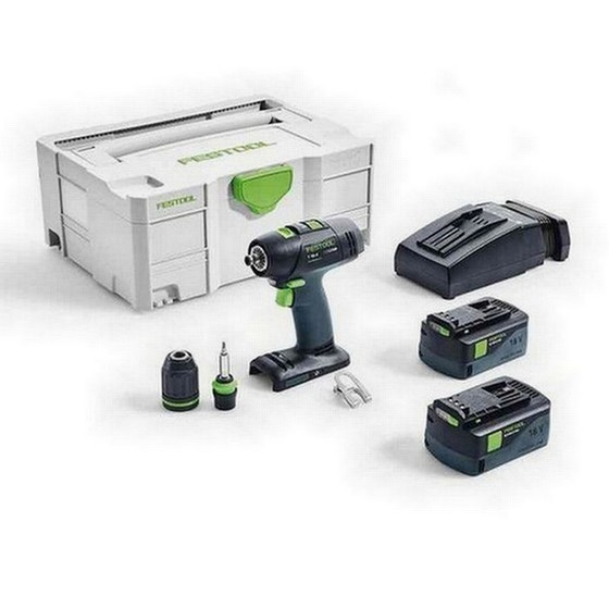 Image of FESTOOL 574757 T183 LI 52 PLUS GB 18V DRILL DRIVER 2 X 52AH AIRSTREAM LIION BATTERIES SUPPLIED IN TLOC CASE