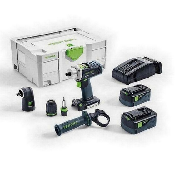 Image of FESTOOL 574699 DRC184 LI SET GB 18V QUADRIVE DRILL DRIVER 2 X 52AH AIRSTREAM LIION BATTERIES SUPPLIED IN TLOC CASE