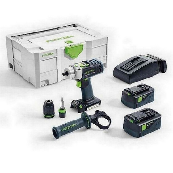Image of FESTOOL 574705 PDC184 LI PLUS GB 18V QUADRIVE PERCUSSION DRILL 2 X 52AH AIRSTREAM LIION BATTERIES SUPPLIED IN TLOC CASE
