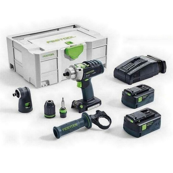 Image of FESTOOL 574706 PDC184 LI SET GB 18V QUADRIVE PERCUSSION DRILL 2 X 52AH AIRSTREAM LIION BATTERIES SUPPLIED IN TLOC CASE
