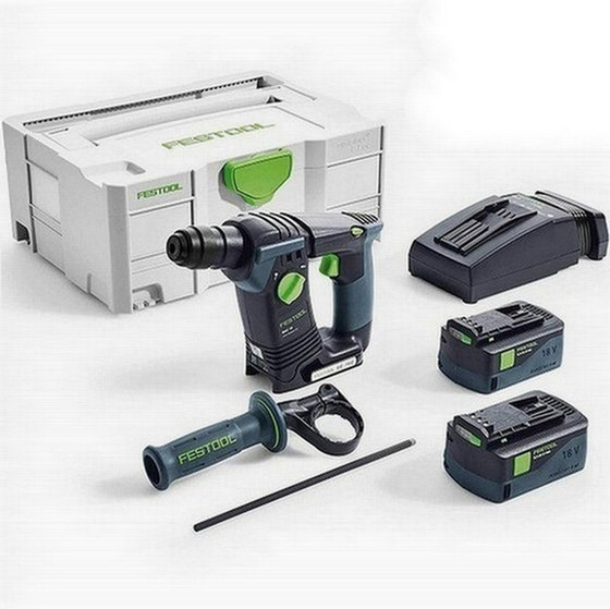 Image of FESTOOL 574721 BHC18 LI 52 PLUS GB 18V SDS HAMMER DRILL 2 X 52AH AIRSTREAM LIION BATTERIES SUPPLIED IN TLOC CASE