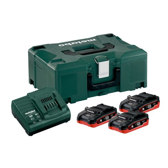 METABO BASIC SET 3X LIHD 3.1AH BATTERIES, ASC30-36 CHARGER & METALOC