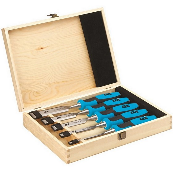 Image of Ox Pro 5 Piece Wood Chisel Set Supplied In Wooden Box
