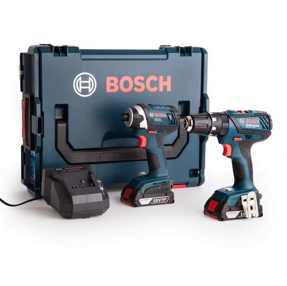 Image of BOSCH GSB182LI COMBI DRILL GDR18 IMPACT DRIVER TWIN PACK WITH 2X 20AH LIION BATTERIES