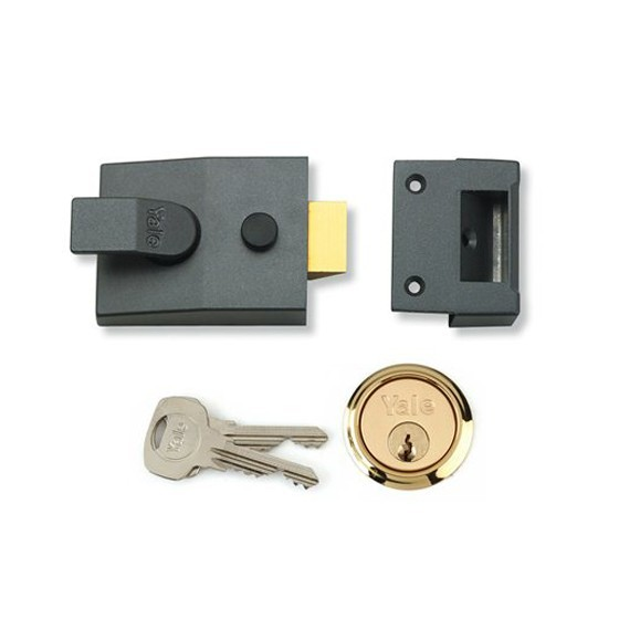 Anglia Tool Centre YALE P85DMGPB40 SECURITY NARROW CYLINDER NIGHTLATCH 40MM DARK METALLIC GREY