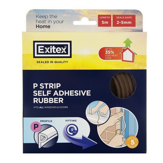 Image of EXITEX ROLL OF P PROFILE SELF ADHESIVE DOOR SEAL STRIP 5M BROWN