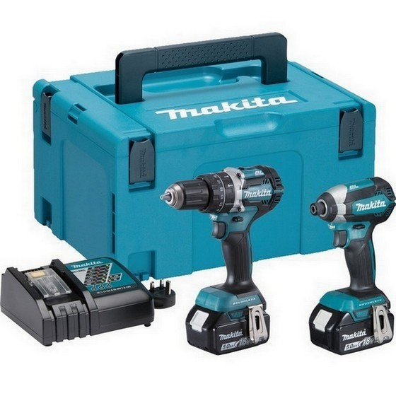 Image of MAKITA DLX2180TJ 18V BRUSHLESS TWIN PACK WITH 2X 50AH LIION BATTERIES