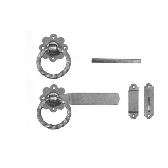 Image of Eliza Tinsley 4149862pp Twisted Gate Ring Latches 150mm Galvanised