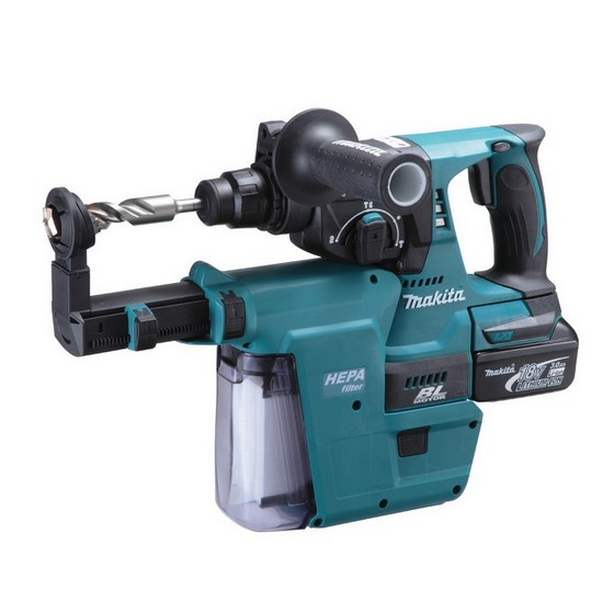 Image of MAKITA DHR242RMJV 18V SDS HAMMER DRILL WITH DUST EXTRACTION KIT & 2X 40AH LIION BATTERIES