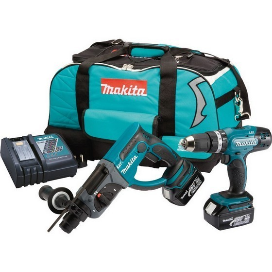 Image of Makita Dlx2025m 18v Sds & Combi Hammer Twin Kit With 2x40ah Liion Batteries & Charger