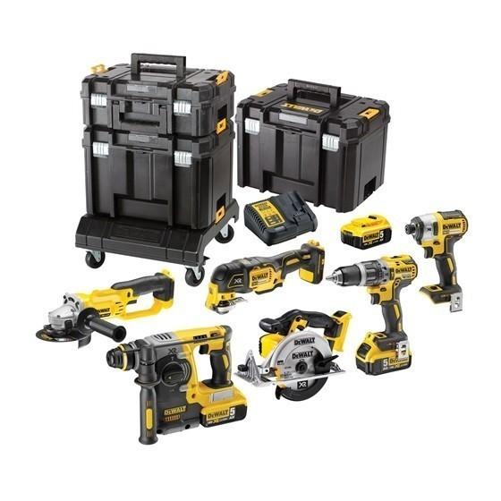 Image of Dewalt Dck654p3t 18v 6 Piece Kit With 3x 50ah Liion Batteries In 3 Tstak Cases Rolling Carrier