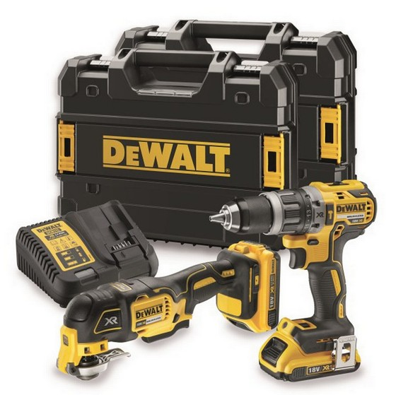 Image of DEWALT DCK208D2T 18V MULTI TOOL & COMBI TWIN PACK WITH 2X20AH LIION BATTERIES