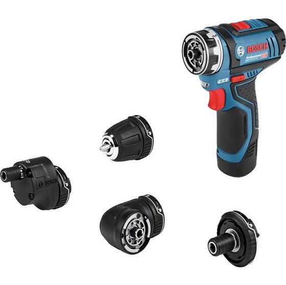 Image of Bosch Gsr12v15fcset 12v Flexiclick Drill Driver Includes Gfa Ghx Gwa Gea Chuck 2x 20ah Liion Batteries
